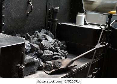 Steam locomotive, shovel and coal