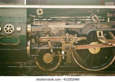 Steam locomotive wheel in retro style