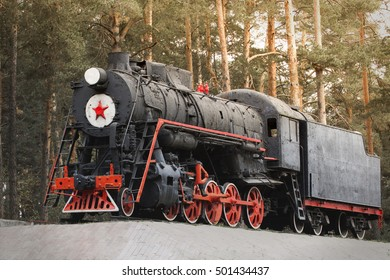 Steam locomotive in the woods