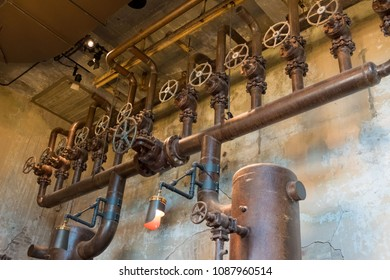 Steam pipes on the ceiling of a hotel in San Antonio Texas.
