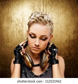 Steam punk girl with headphones