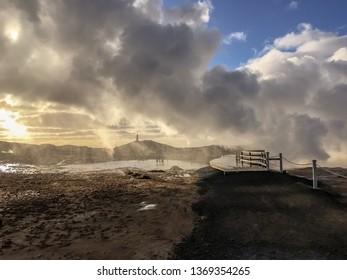 Steam in Reykjanes in Iceland