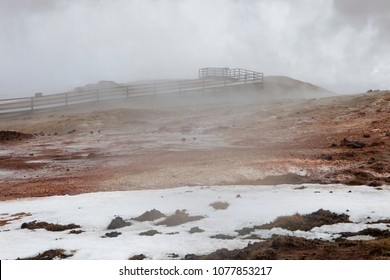 Steam rises up at the Gunnuhver hot spring on the Reykjanes Pennisula