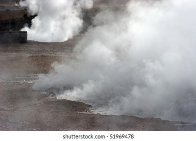 Steam rising from hot spring, geyser valley, Chile