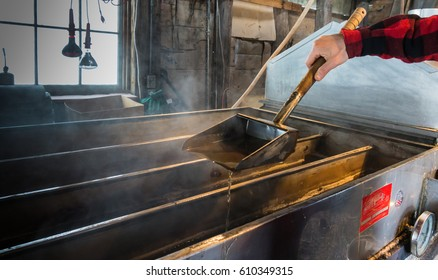 steam rising off of boiler evaporating  maple tree sap to make maple syrup in sugar house, dripping syrup from ladle to test  how thick syrup has become ; an early spring tradition in Vermont