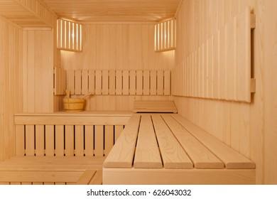 Steam room, natural wood sauna