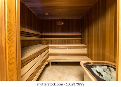 Steam room upholstered with wood