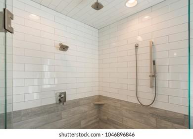 Steam Shower with modern white subway tile
