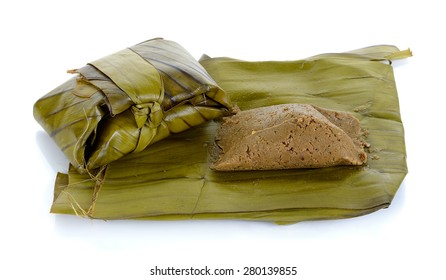 steam soybean with banana leaf isolated on white ,Northern of Thailand food.