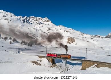 Steam train of Bernina, Bernina Express on Rhaetian railway. Unesco world heritage