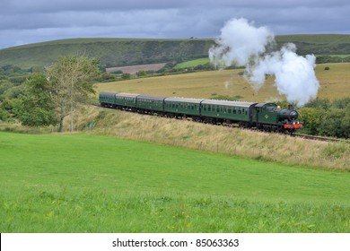 Steam train in countryside
