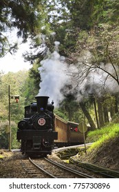steam train in the mountain trailroad