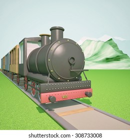 Steam train with mountains on the back, 3d render, square image