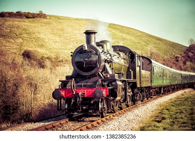 Steam Train Moving Swiftly through the Country Hills