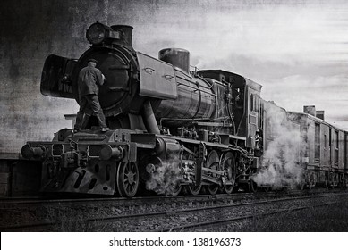 The steam train on the Goldfields Railway in country Victoria, Australia