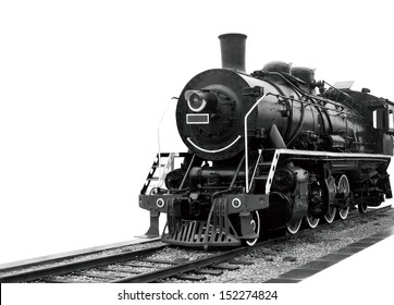 Steam train on a white.