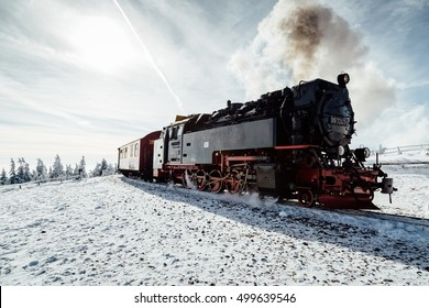 Steam train in winter on the Brocken, Harz Germany