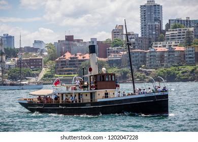 Steam tug Waratah steaming in Sydney Harbour, Sydney, Australia on 7 December 2014
