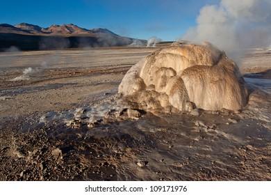 Steam vents at geothermal area El Tatio