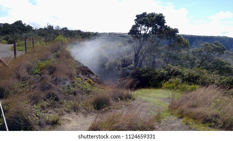 Steam vents nearby Visitor Center in Volcanoes National Park (Big Island, HI, USA)