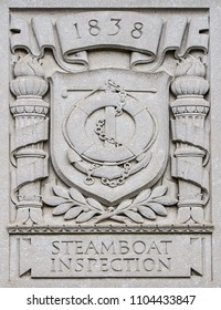 The Steamboat Inspection plaque on the Department of Commerce building in Washington DC taken May 30 2018