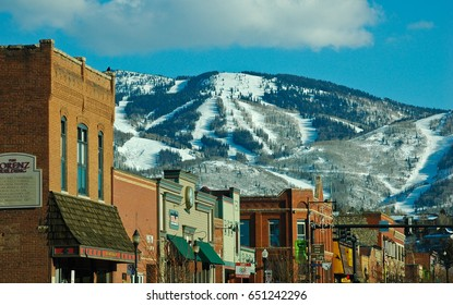 STEAMBOAT SPRINGS COLORADO FEBRUARY 4, 2012 Downtown Steamboat Springs with Mt. Warner ski area in the background.
