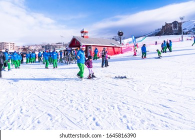 Steamboat Springs, Colorado, USA-December 8, 2018 - Learning ski hill for alpine skiing.