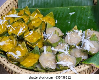 Steamed banana flour and sugarpalm cake, Thai traditional sweetmeat