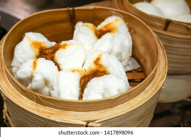 Steamed barbecue Red Pork Buns Steamed in hot Dim sum basket