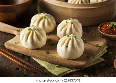 Steamed BBQ Pork Asian Buns Ready to Eat