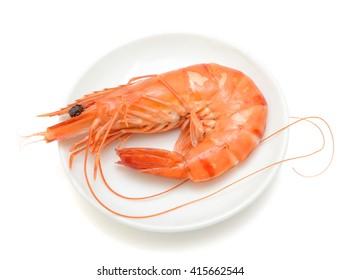 Steamed black tiger shrimp isolated on white background