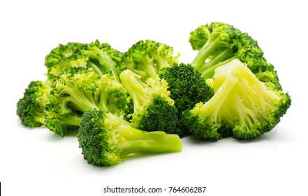 Steamed broccoli isolated on white background heap