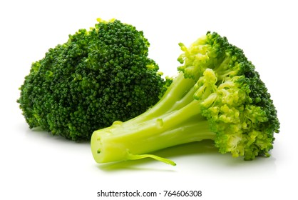 Steamed broccoli isolated on white background two pieces