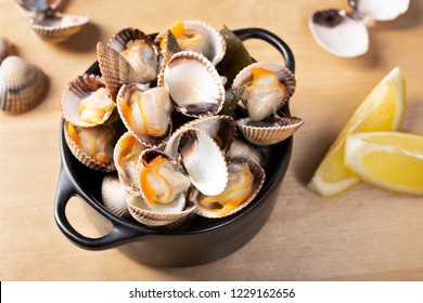 Steamed cockles ready to eat. Boiled cockles from Atlantic Ocean Galicia Spain. Close up