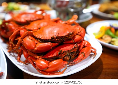 Steamed crab on the table Is very tasty seafood