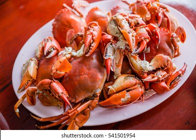 Steamed crabs on a plate on the table.