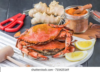 Steamed crabs with spices. Maryland blue crabs.