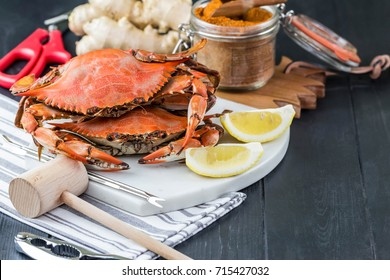 Steamed crabs with spices. Maryland blue crabs. Crab fest. Crab festival.
