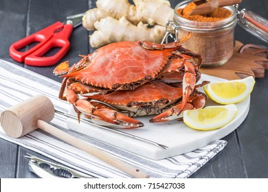 Steamed crabs with spices. Maryland blue crabs. Crab festival.