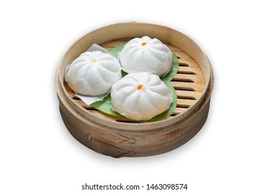 Steamed Dumplings Dim Sum in bamboo basket steamer chiness style at Thai restaurant, steamed stuff bun on white background.