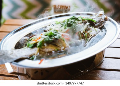 Steamed fish with soy sauce traditional chinese cuisine