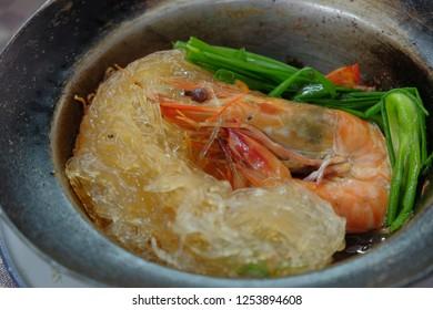 Steamed glass noddle with prawn