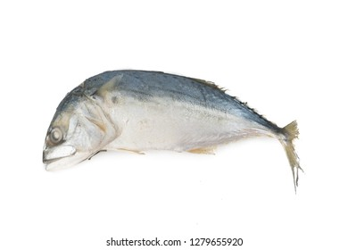 Steamed mackerel isolated on white background