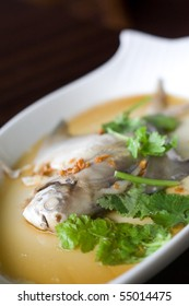 Steamed pom fret fish with light soy sauce