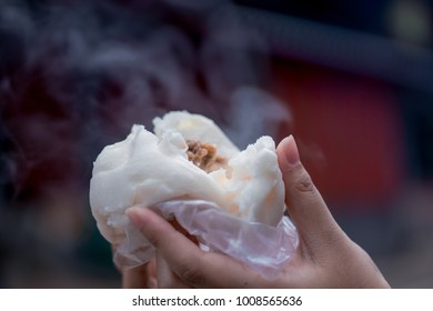 Steamed pork bun from the stove was hot.