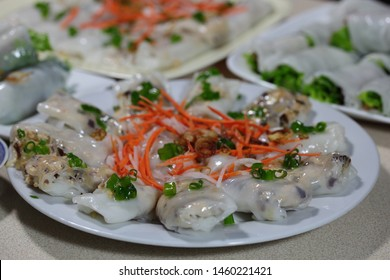Steamed rice rolls with pork paste, onion, and black wood ear mushroom.