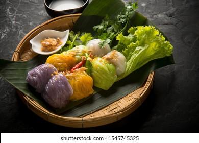 Steamed rice skin dumplings ,Khao Kriab Pak Mor, Thai dessert.