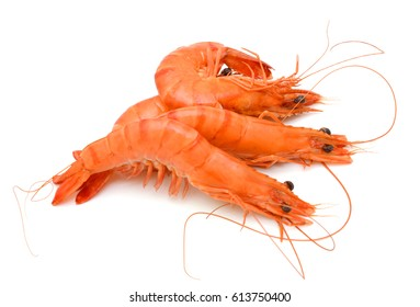 Steamed shrimp isolated on white background