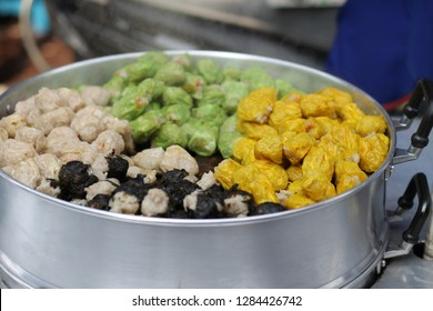 Steamed siomai, a popular meat street food of chinese origin sold along the streets of chinatown in Bangkok City, Thailanf