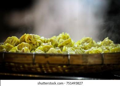 Steamed siomai, popular street food of Chinese origin. Also called dim sum, shao mai or shu mai